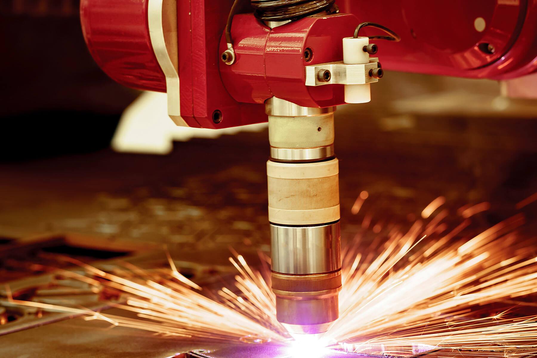 laser plasma cutting sparks up close
