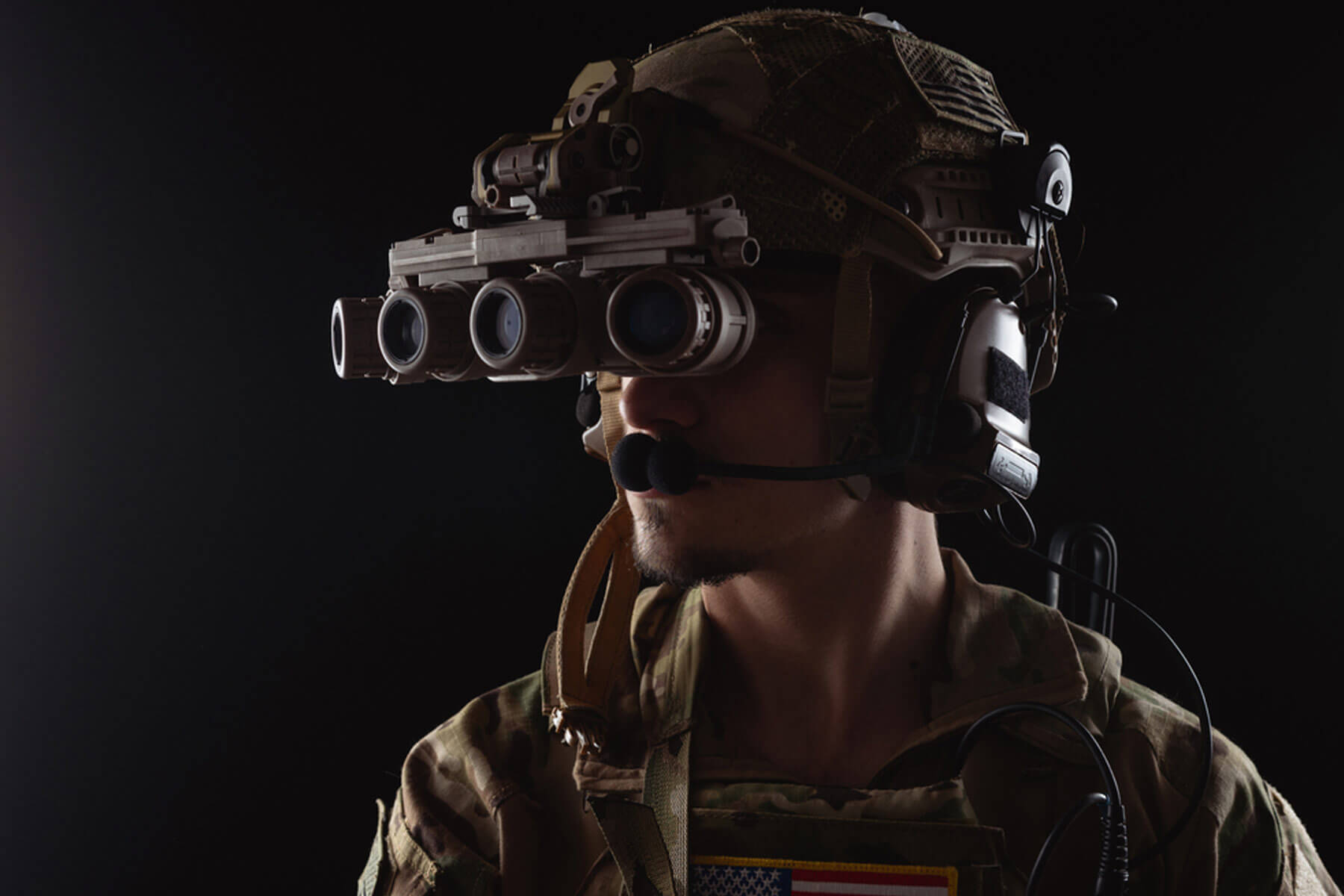 soldier wearing night vision equipment